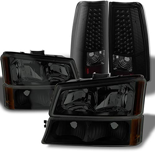 Xtune for 2003-2006 Chevy Silverado Midnight Black Smoked Headlights Set + LED Tail Lights Combo 2004 2005