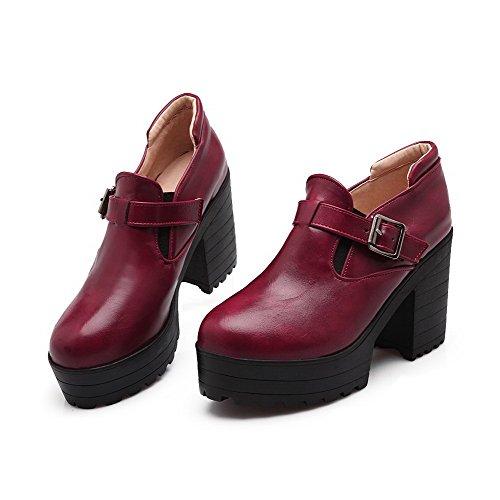 VogueZone009 Damen PU Leder Hoher Absatz Rund Zehe Rein Ziehen auf Pumps Schuhe Rot