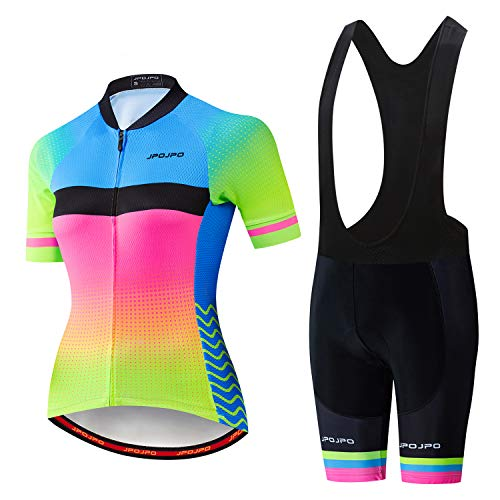Women's cycling Jersey, Short Sleeve and Summer Bib Padded Cycling Shorts