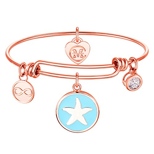 - 18K Gold Plated Starfish Charm Bracelet Bangle, Gift for her (Rose Gold - Starfish)