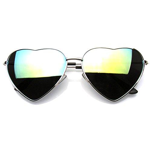 (Cute Womens Metal Heart Shape Flash Revo Mirrored Sunglasses (Silver Green Ice))