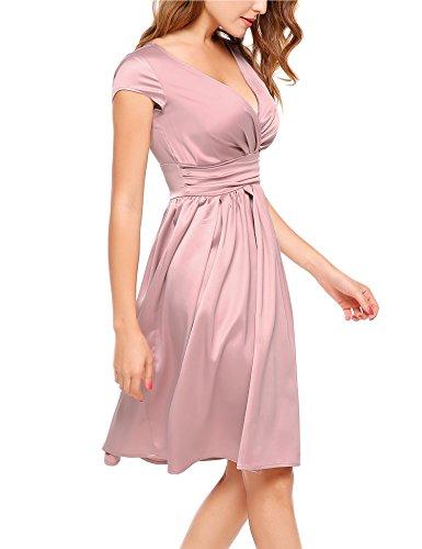 ACEVOG Women Deep V-Neck Empire Waist Satin Cap Sleeve Short Bridesmaids Cocktail Party Dress Pink