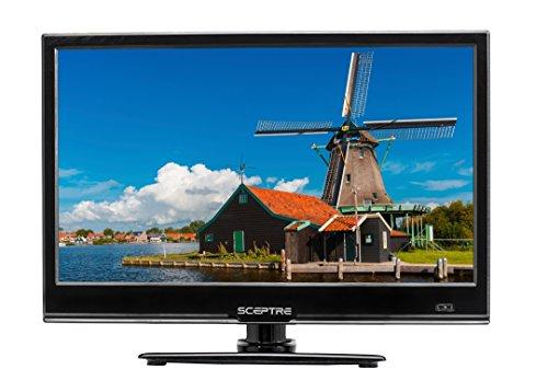 Sceptre E165BV-SS Slim 16″ 720p LED HDTV HDMI USB VGA, DC 12V Car Adapter Included, Fine Black (2017)