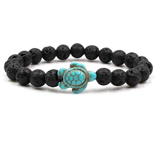 Myhouse Sea Turtle Beads Bracelets Natural Stone Elastic Bangle for Women Girls Charm Gift,Style 4