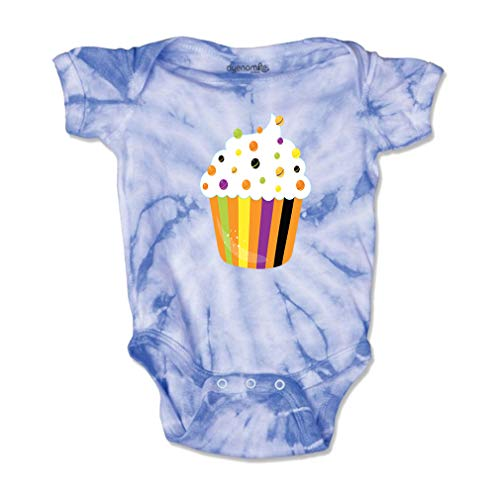 Cute Rascals Halloween Cupcake Short Sleeve Envelope Neck Boys-Girls Cotton Baby Tie Dye Bodysuit Jersey - Carolina Blue, 18 Months ()