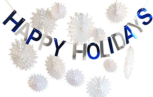 Happy Holidays Snowflake Paper Party Decorations for Christmas, Hanukkah, New Years or Winter Parties – For Home, Office, Classroom and Outdoor Porch -- Engagements, Weddings and Showers –- Color