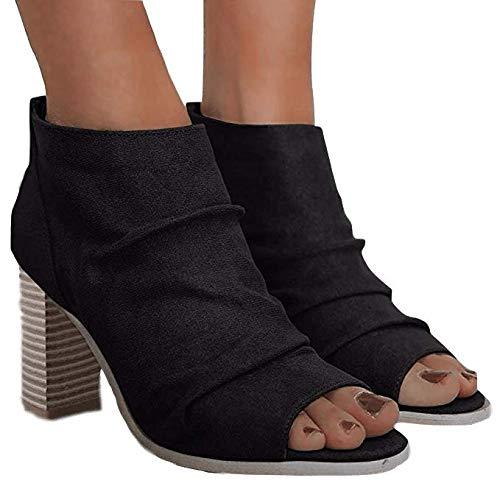 Liyuandian Womens Open Toe Ankle Booties Platform Zipper Back Fold Heels Shoes