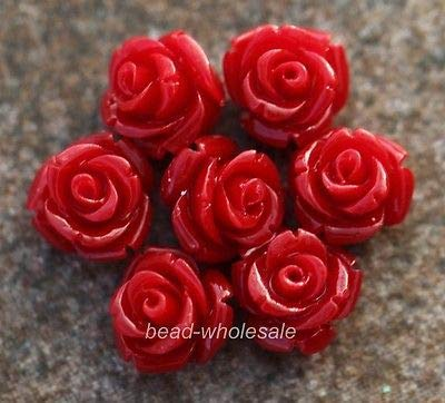 (Calvas 10 pcs/lot Rose Flower Coral Resin Spacer Beads for Jewelry Making 15mm Fashion - (Color: red))