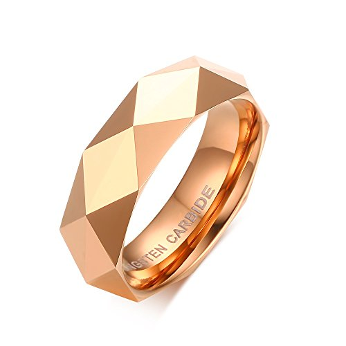 6mm Diamond Faceted Tungsten Carbide Wedding Band Rings For Men Women Polished Beveled Edge Comfort Fit (rose gold(tungsten), (Antique Gold Rose)