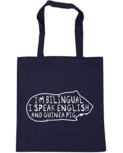 HippoWarehouse I'm Bilingual I Speak English And Guinea Pig Tote Shopping Gym Beach Bag 42cm x38cm, 10 litres French Navy