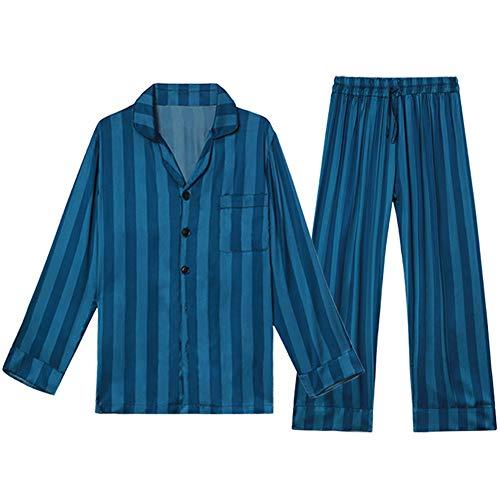 De Pijamas Mmllse Casero Seda Finas Rayas Pijama Estampado Manga Larga Blue xqqXOrd