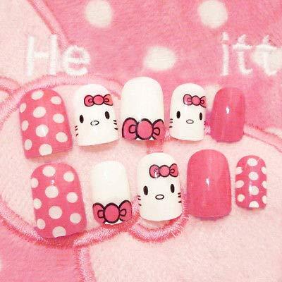 24pcs False Nail Pink Hello Kitty Lovely Nail Art Manicure