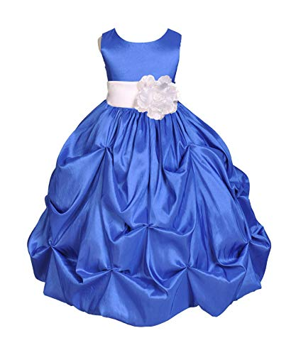 ekidsbridal Royal Blue Pick-up Bubble Taffeta Flower Girl Dresses Graduation Dress Birthday Girl Dresses 301s 8