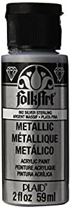 FolkArt Metallic Acrylic Paint in Assorted Colors (2 Ounce), 662 Silver Sterling