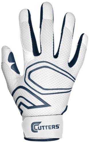 Cutters Gloves Youth Lead-Off Baseball Batting Glove, White/Navy, (Cutter Baseball Batting Gloves)