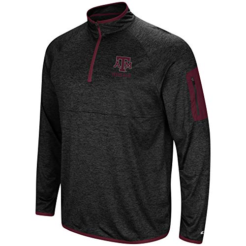 Colosseum NCAA Men's Scrimmage 1/4 Zip Windshirt Pullover-Texas A&M Aggies-Heathered Black-XXL ()