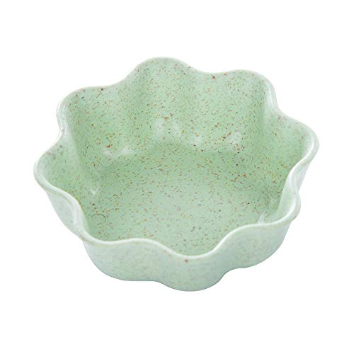 (1Pc Cute Sauce Bowl - Seasoning Dish - Snack Tray - Appetizer Plates-Dipping Dish-Wheat Straw Different Shapes Optional size plum blossom (green))