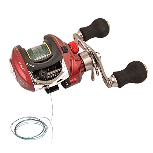 Red Reel Baitcast - BLISSWILL Fishing Reel Baitcasting Reel with Grey Braided Fishing Lines Left/Right Handed 14+1BB 6.4:1 Carbon Fiber Magnetic Brake System Saltwater/Freshwater Fishing Reels (Red, Left Handed)