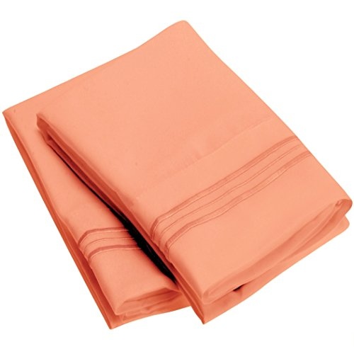 (Harmony Sweet Sheets Pillowcase Set - 1800 Double Brushed Microfiber Bedding - Deep Pocket, Hypoallergenic - Wrinkle, Fade, Stain Resistant Sheets (Set of 2 King Size, Coral))