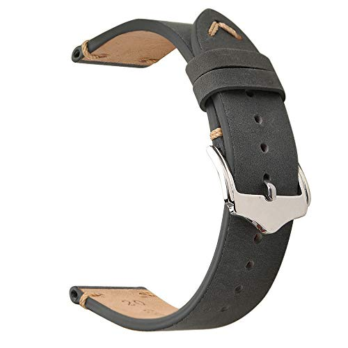(EACHE 22mm Genuine Leather Watch Band Grey Crazy Horse Leather Replacement)