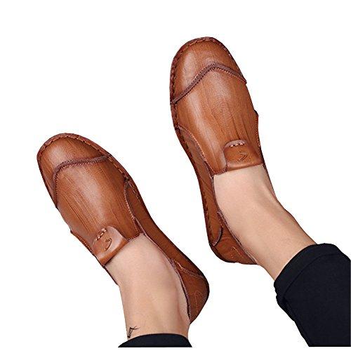 Lisianthus Mens Kausal Platta Läder Loafers Rödbrun-1