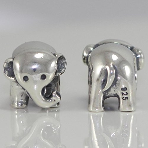 Elephant Strength & Intelligence Symbol Sterling Silver Charm Bead Fits Pandora Biagi Troll Chamilla all Other Charm Bracelets #EC256