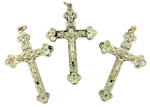 Lot of 3 Gold Tone Budded Cross 2 1/2