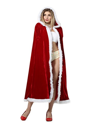 CA Mode Women Merry Christmas Mrs Santa Claus Red Cloak Xmas Costume Cappa Cloak Cape,Red,4'9