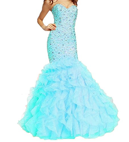 Dhs Ice - H.S.D Women's Sweetheart Mermaid Beaded Organza Long Prom Dresses Ice Blue