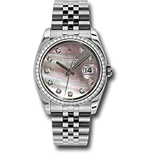 Rolex Datejust 36mm Stainless Steel Case, 18K White Gold Bezel Set With 52 Brilliant-Cut Diamonds, Dark Mother of Pearl Dial, Diamond Hour Markers, and Stainless Steel Jubilee Bracelet.