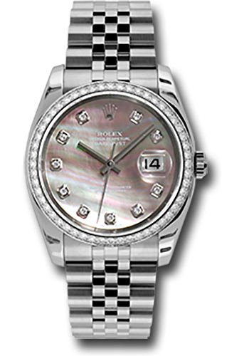 - Rolex Datejust 36mm Stainless Steel Case, 18K White Gold Bezel Set With 52 Brilliant-Cut Diamonds, Dark Mother of Pearl Dial, Diamond Hour Markers, and Stainless Steel Jubilee Bracelet.