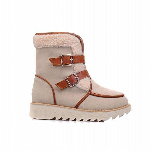 Show Shine Kvinna Mode Spännen Plattform Snö Stövlar Boots Beige