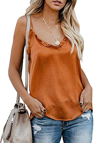 Tiksawon Women's V-Neck Ruffle Loose Sleeveless Shirts Casual Summer Spaghetti Strap Satin Ladies Tops Orange s ()