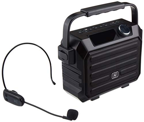Portable Mini Bluetooth PA System with Wireless Headset Microphone 30W Personal Pa Speaker Rechargeable Voice Amplifier Supports Earphone/FM Radio/AUX-IN Mode/USB Input/TF Card
