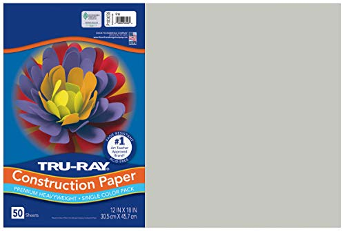 "Tru-Ray Heavyweight Construction Paper, Gray, 12"" x 18"", 50 Sheets"