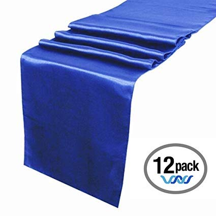 Wavewater Royal Blue Satin Table Runners 12-Pack (12 x 108 inch) Long, Elegant, Decorative Party Decor | Wedding, Banquet, Graduation, Business Events | Fits Rectangular & Round Surfaces