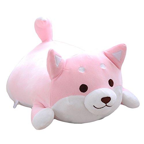 Shiba Inu Dog Plush Pillow, Cute Corgi Akita Stuffed Animals Doll Toy Gifts for Valentines Gift, Christmas,Sofa Chair, pink round eye 15