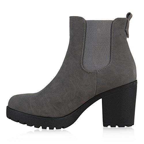 6cd2092e394b Stiefelparadies Damen Stiefeletten Chelsea Boots Blockabsatz Profilsohle  Schuhe Flandell Grau Autol ...