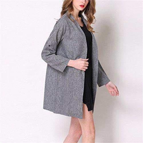 Redondo Outwear Slim Largo Mangas Invierno Cuello Honghu Coat Mujer Casual Largas Gris Abrigos Otoño E Chaqueta U714qvwO