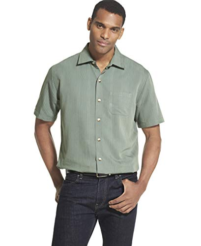 Van Heusen Men's Air Short Sleeve Button Down Poly Rayon Stripe Shirt, Green deep Forest, X-Large