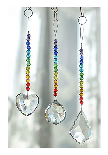 H&D HYALINE & DORA Chandelier Crystals Prisms Rainbow Chakra Suncatcher with Beads Decorating Hanging Ornament,Set of 3 (Multi-4) ()
