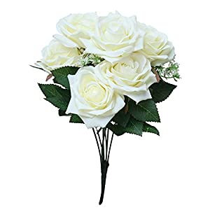 SANGQU 1Pcs 7 Heads Artificial Flowers PE Material Rose Floral for Home Decoration Wedding Decor, Bride Holding Flowers,Garden Craft Art Decor(Vase not Included) 4