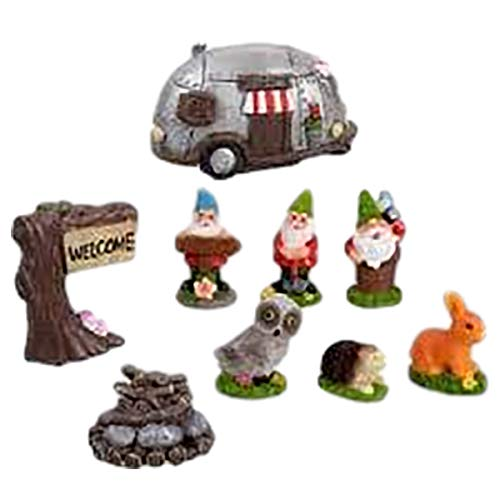 Eclectic Blackbird Miniature Fairy Garden Airstream Style RV Camper with Figurines and Accessories (9 Pieces)