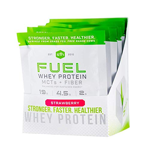 FUEL Whey Protein Powder (Strawberry) by SFH | Best Tasting 100% Grass Fed Whey | MCTs & Fiber for Energy | All Natural | Soy Free, Gluten Free, No RBST, No Artificial Flavor (10 Single Serve Pouches)
