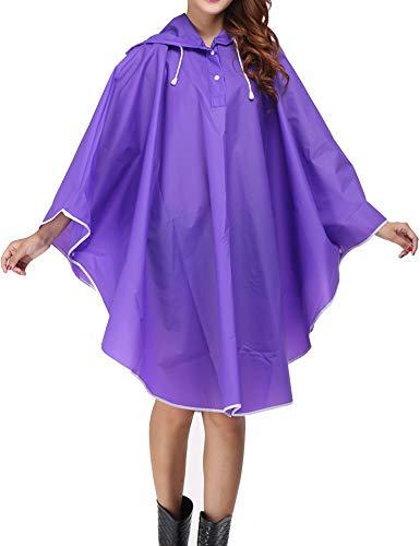 Doreyi Women Rain Poncho Bicycle Rain Jacket Waterproof Packable Raincoats (Purple, One Size)]()