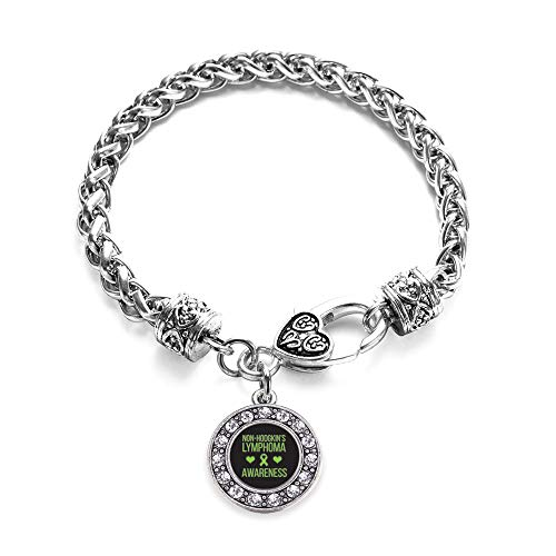 Inspired Silver - Non Hodgkins Lymphoma Support Braided Bracelet for Women - Silver Circle Charm Bracelet with Cubic Zirconia Jewelry