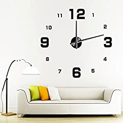 Kingtoys 39.37 Inch Modern 3d Frameless Large Wall Clock Style Watches Hours DIY Room Home Decorations Black