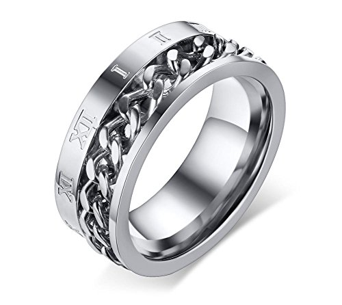 JRUI Jewelry Stainless Steel 8mm Rings for Men Chain Rings Biker Roman Numerals Edge, Size 8-12 Silver Size ()
