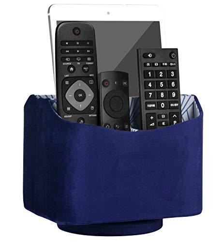 HofferRuffer Remote Caddy, Rotating Remote Control Holder, Spinning Remote Control Holder, Remote Caddy, Nice Velvet Media Storage Organizer, 7.3X 5.5 x 6 inches, Blue Velvet