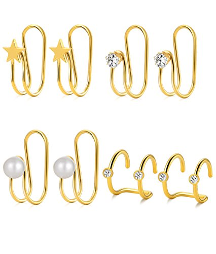 - Tornito 4 Pairs Stainless Steel Ear Cuff Helix Cartilage Clip On Wrap Earrings Fake Nose Ring Non-Piercing Adjustable (D:4 Pairs, Gold Color)